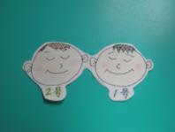 ママが描いてくた双子ちゃん。1号2号